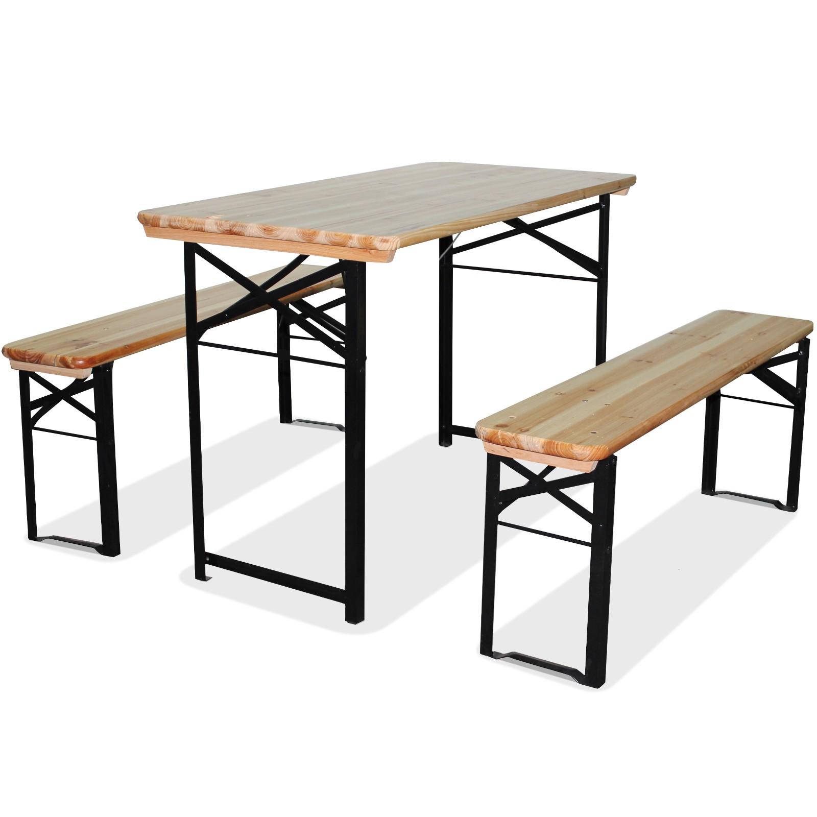 Set birreria tavolo e 2 panche da giardino pieghevole per for Panche in legno da giardino