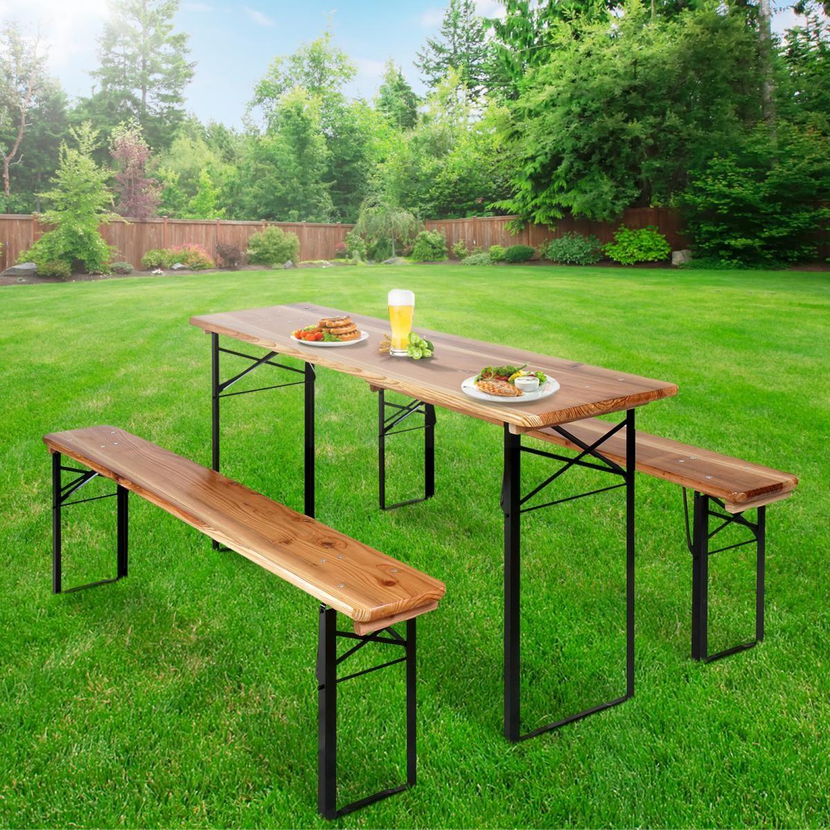 Set birreria in 3 pezzi cm tavolo e panche pieghevole legno giardino ebay - Tavolo e panche da giardino ...