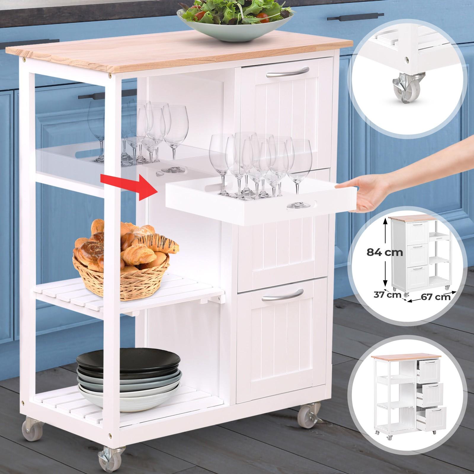 Faire Une Desserte En Bois détails sur chariot de cuisine desserte à roulettes en bois blanc meuble de  rangement
