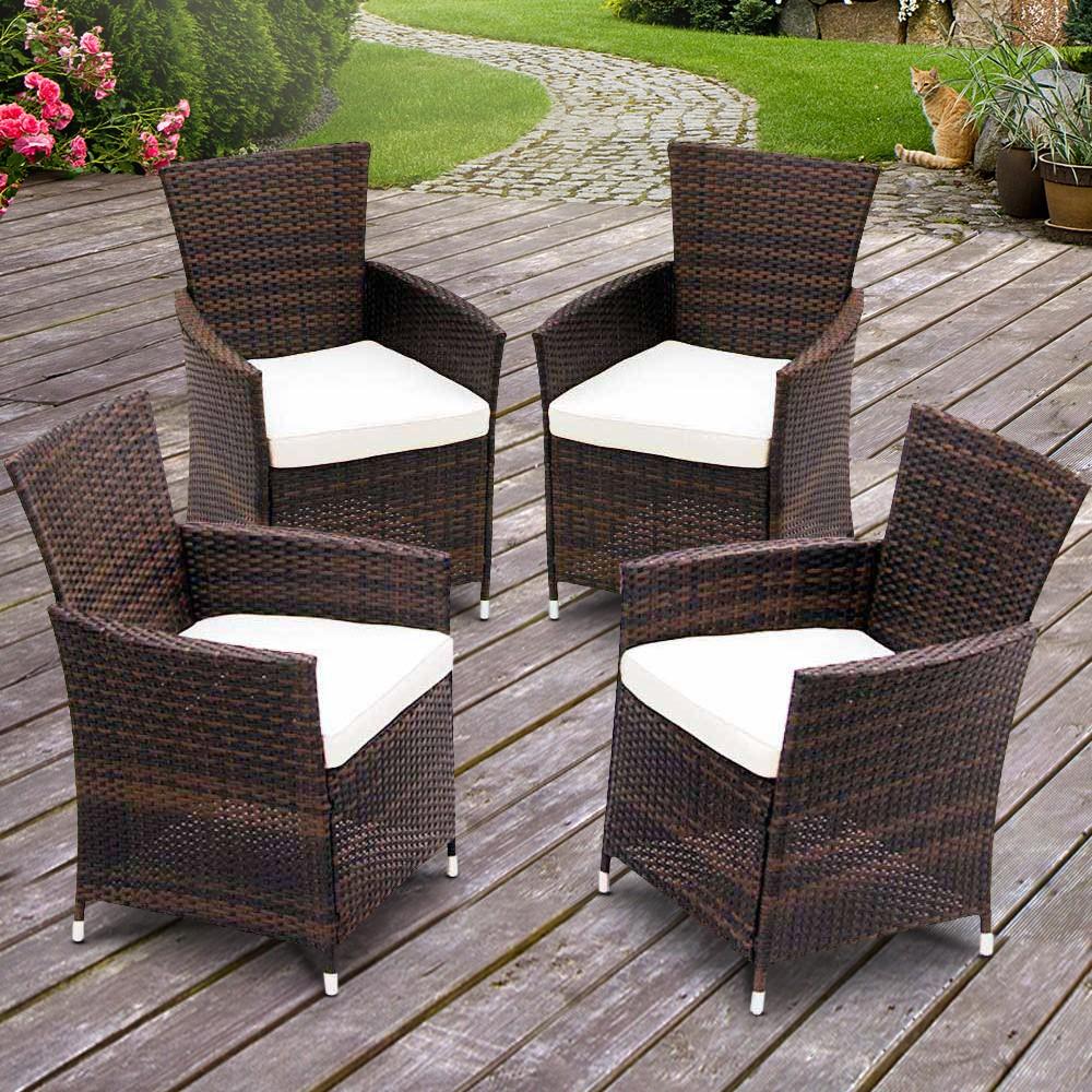 sedie da giardino rattan set di 4 mobili per esterno