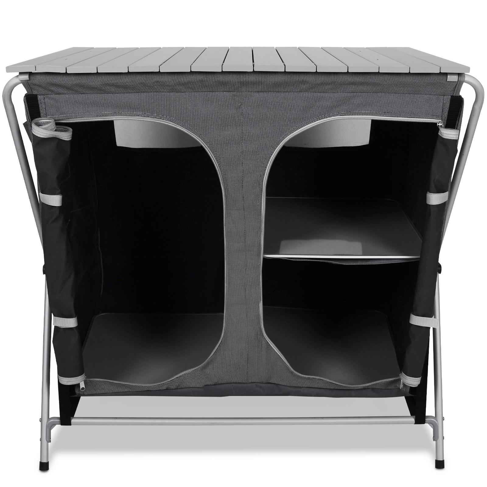 Detalles de Cocina Camping Plegable Paravientos Armario Mueble  Compartimentos Aluminio
