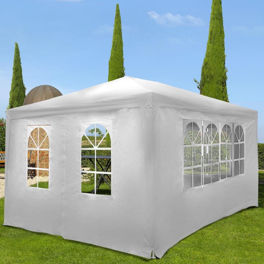 Bianco Padiglione Tendone per Feste 4 Panelli Laterali Rimovibili Impermeabile Protezione UV30+ Tenda per Esterno Nova Gazebo da Giardino 3x4m