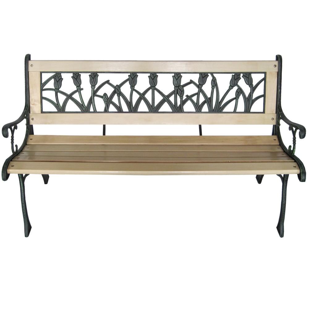 gartenbank aus holz gusseisen parkbank sitzbank lehne in tulpendesign ebay. Black Bedroom Furniture Sets. Home Design Ideas