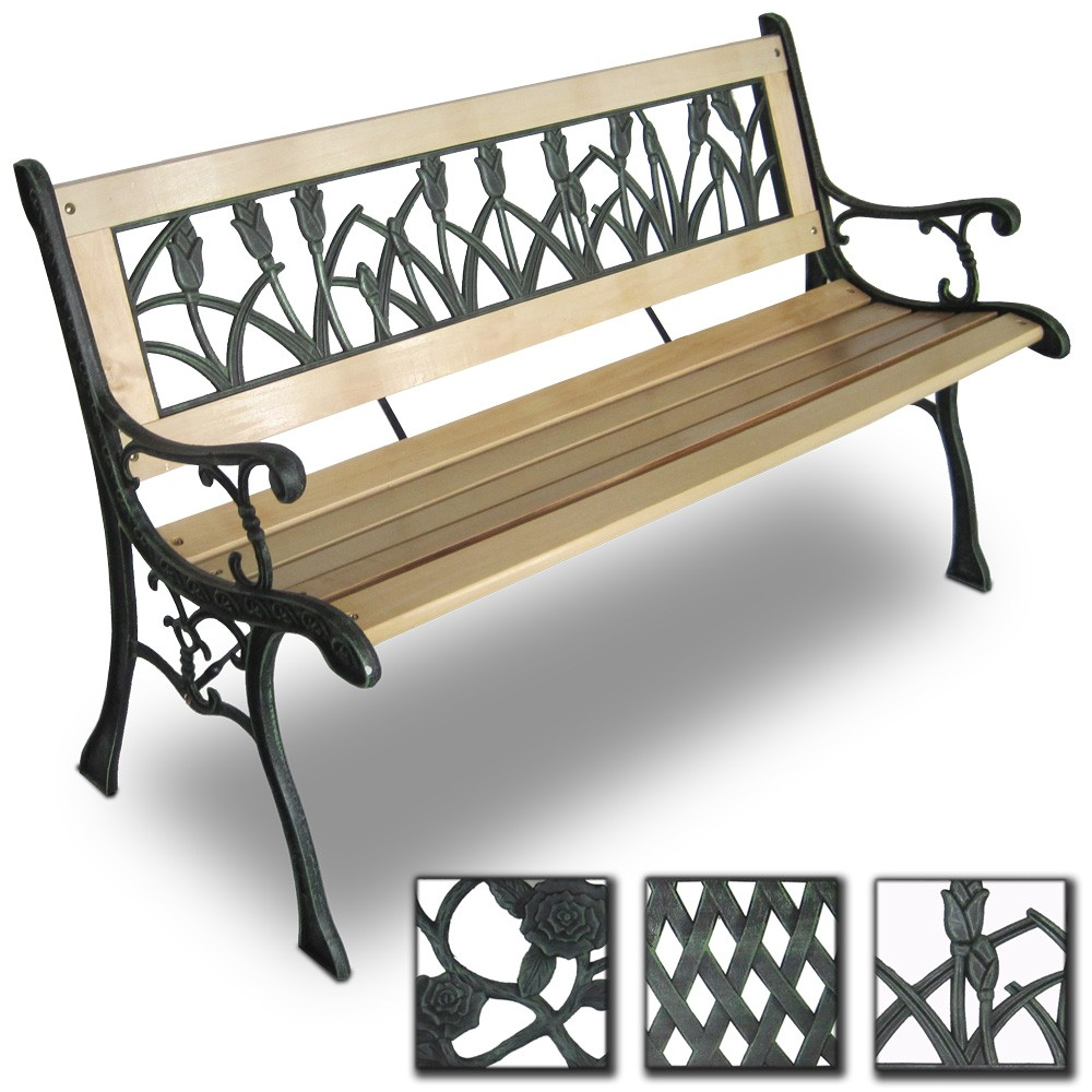 gartenbank aus holz gusseisen parkbank sitzbank lehne in tulpendesign ebay. Black Bedroom Furniture Sets. Home Design Ideas