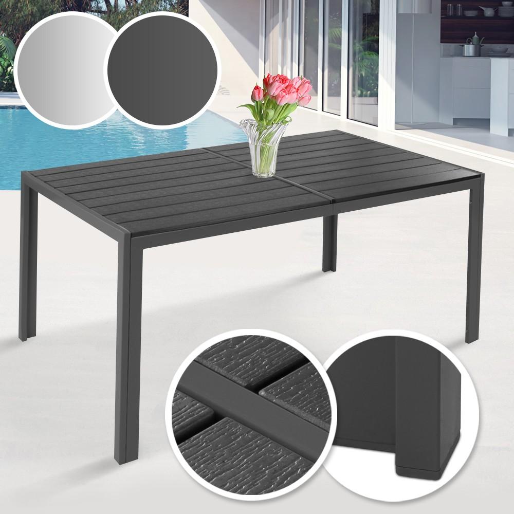 Détails sur Table de Jardin Terrasse Balcon Meuble Extérieur Cadre en Acier  150x90x72 cm