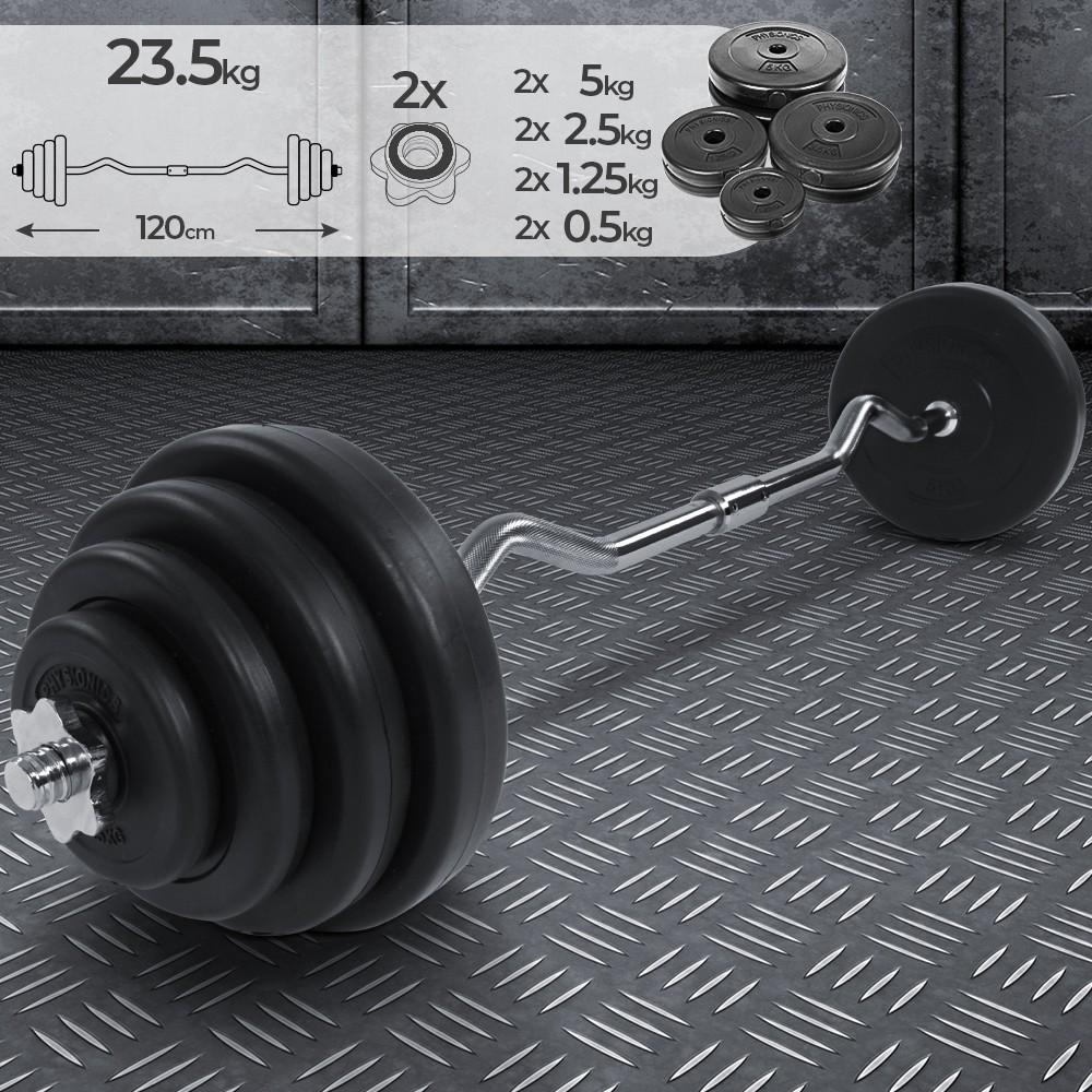 Home Fitness Langhantel ink Gewichte Premium Pump Set Obsydian Langhantelset