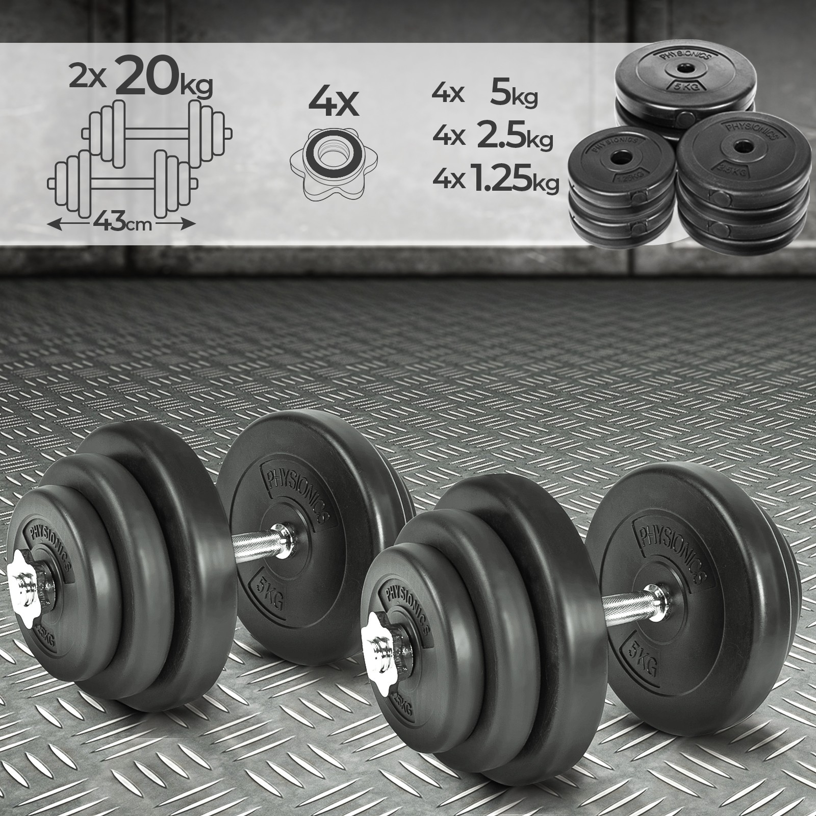 Chrom Kurzhantel Hanteln Set Hantelset Gewichte Hantelscheiben 40 kg 2x20