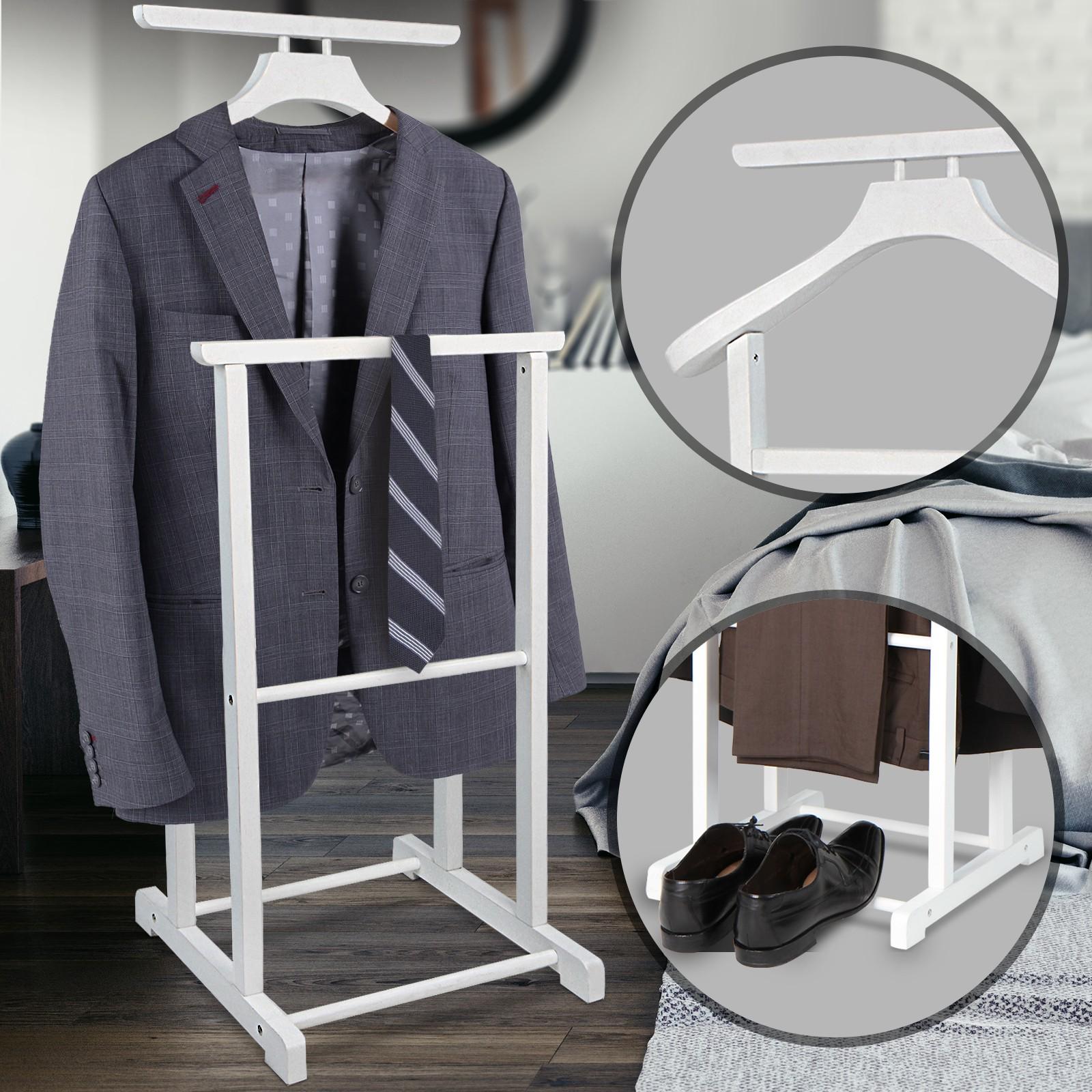 Herrendiener Weiss Holz Kleiderstander Garderobenstander Stummer Diener Butler