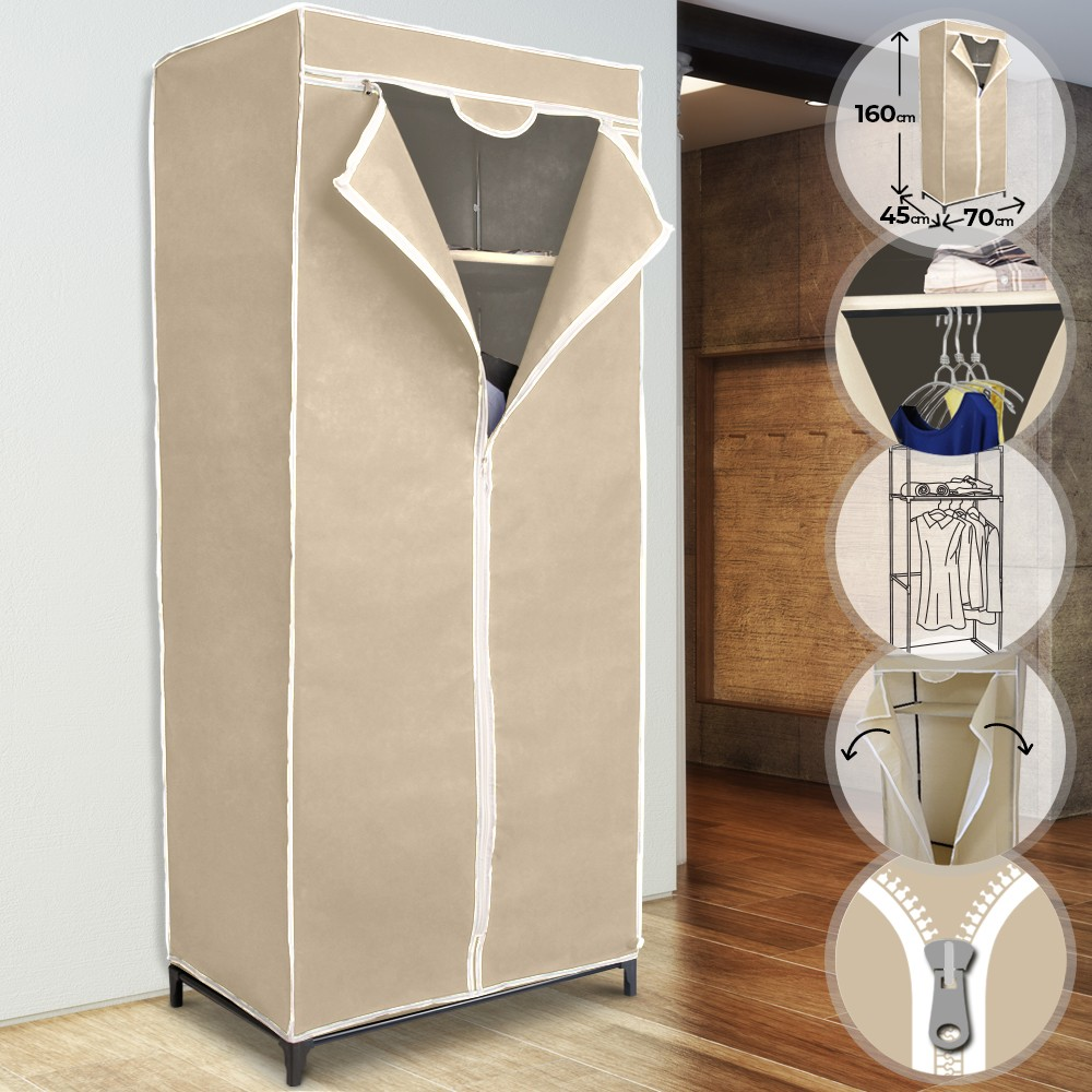 Armoire De Chambre Avec Penderie détails sur armoire penderie en tissu meuble de rangement pliable chambre  dressing vêtement