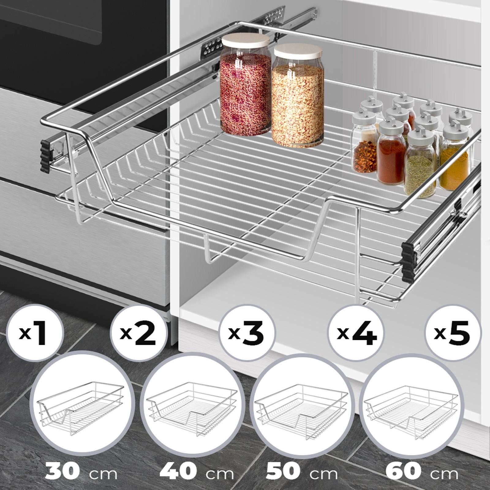 Cestelli Estraibili Per Mobili Da Cucina.Dettagli Su Cestelli Estraibili Da Cucina 30 50 60cm Cassetto Telescopico Cestello Supporto