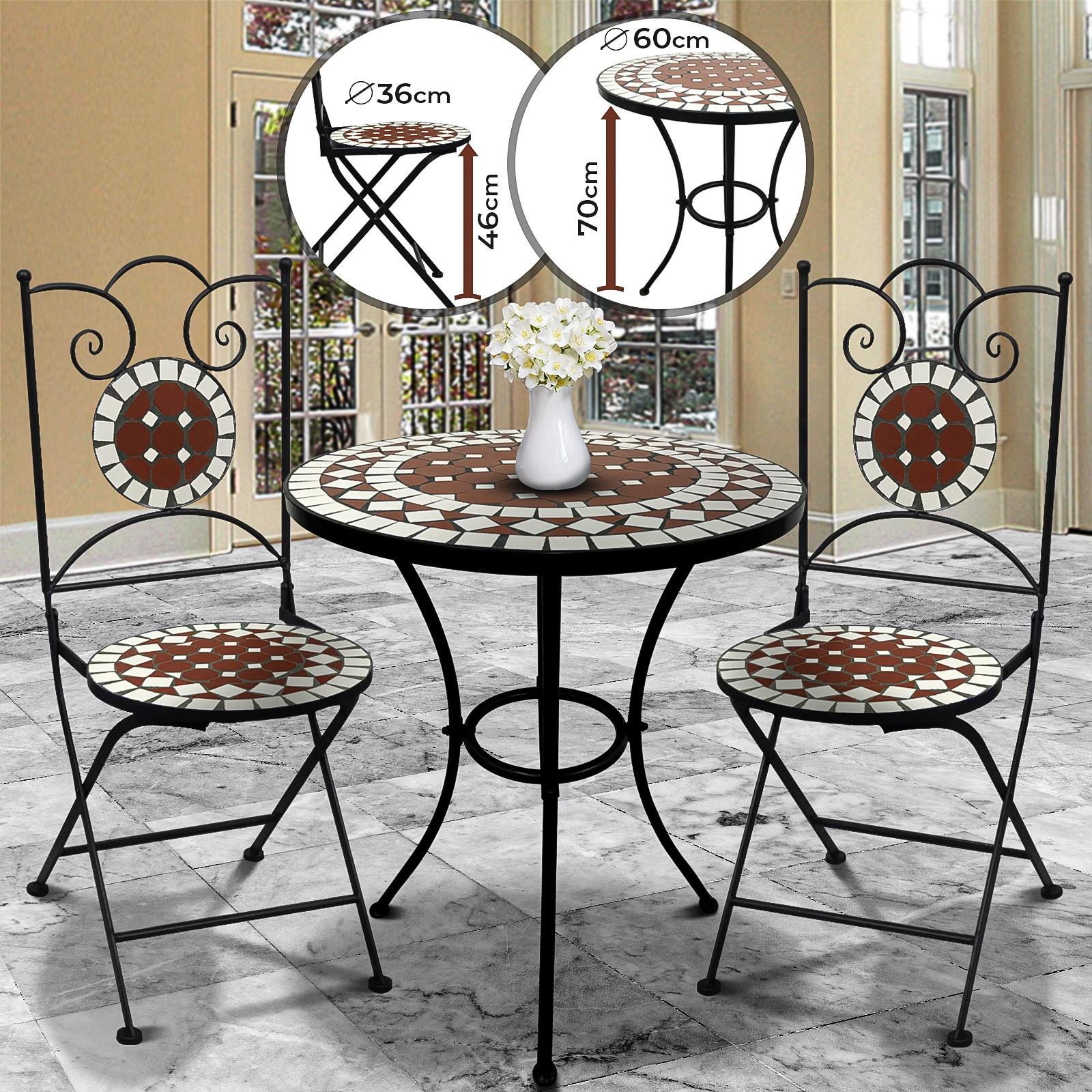 Détails sur Salon de Balcon Mosaïque Table 2 Chaises Ensemble Meuble  Mobilier Terrase Jardin