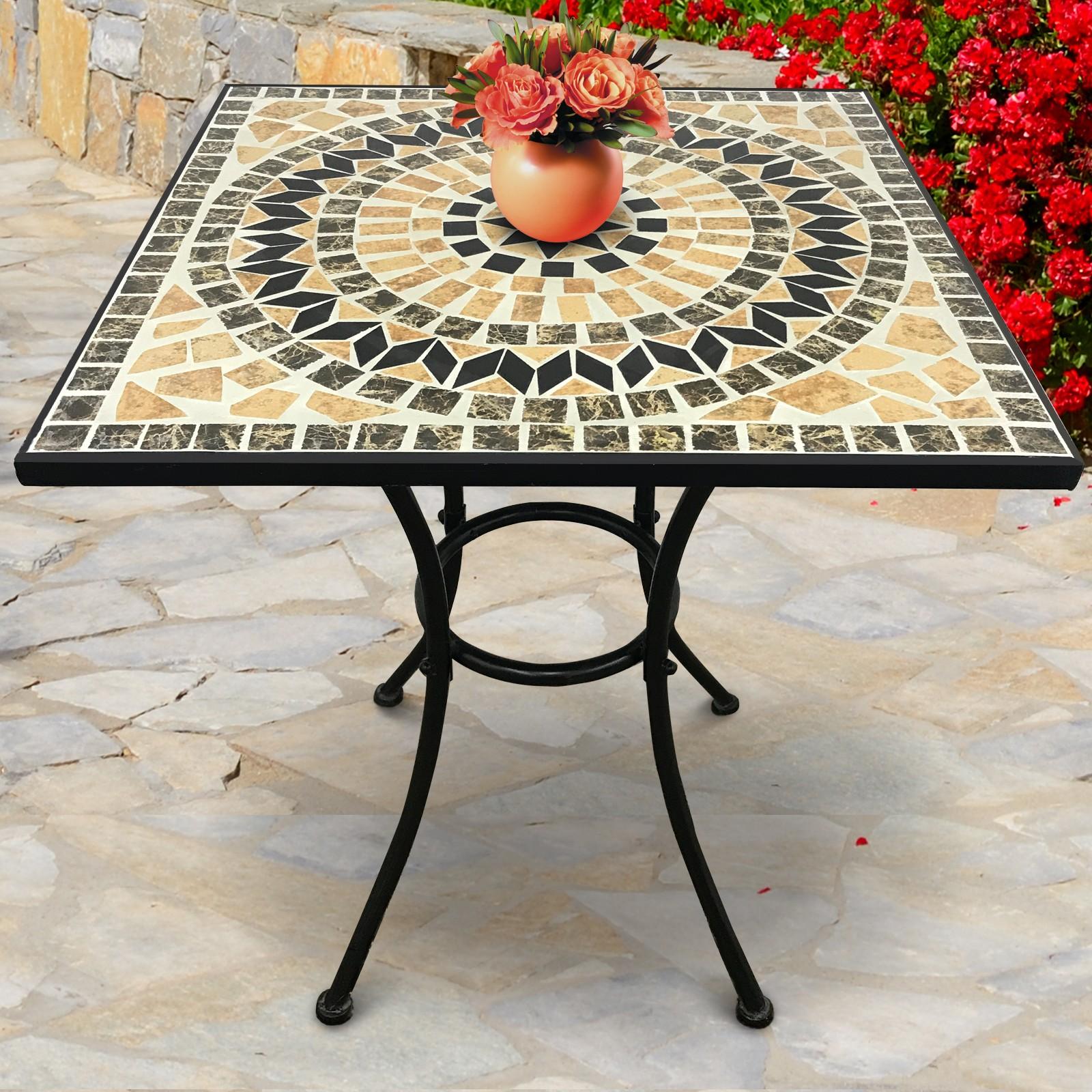 Détails sur Table de Balcon Mosaïque Guéridon Bistrot Terrasse Jardin  Céramique Metal