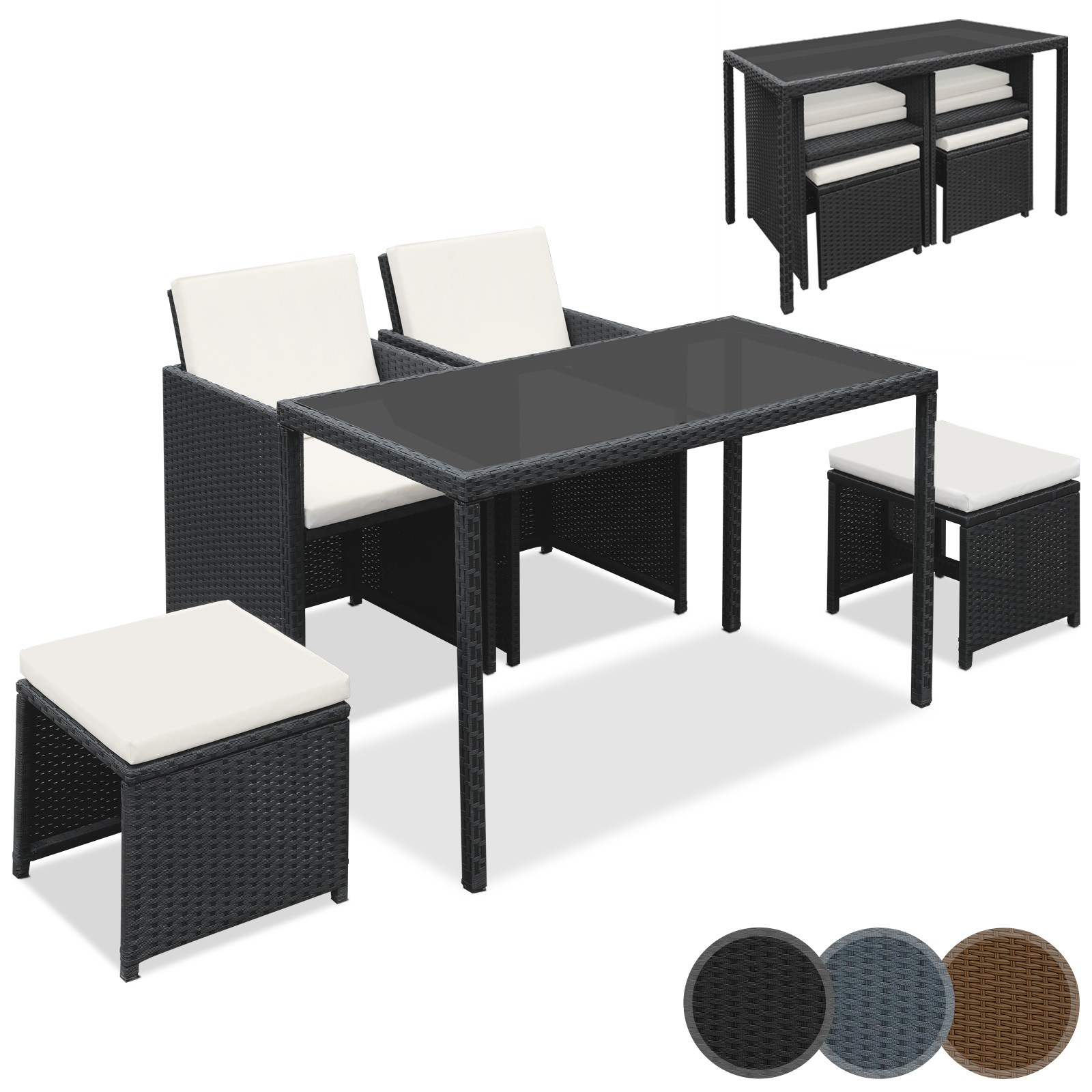 Polyrattan Essgruppe Mit Glas Tischplatte 5 Teilig Sitzgruppe Gartenmöbel  In Der Farbe Ihrer Wahl