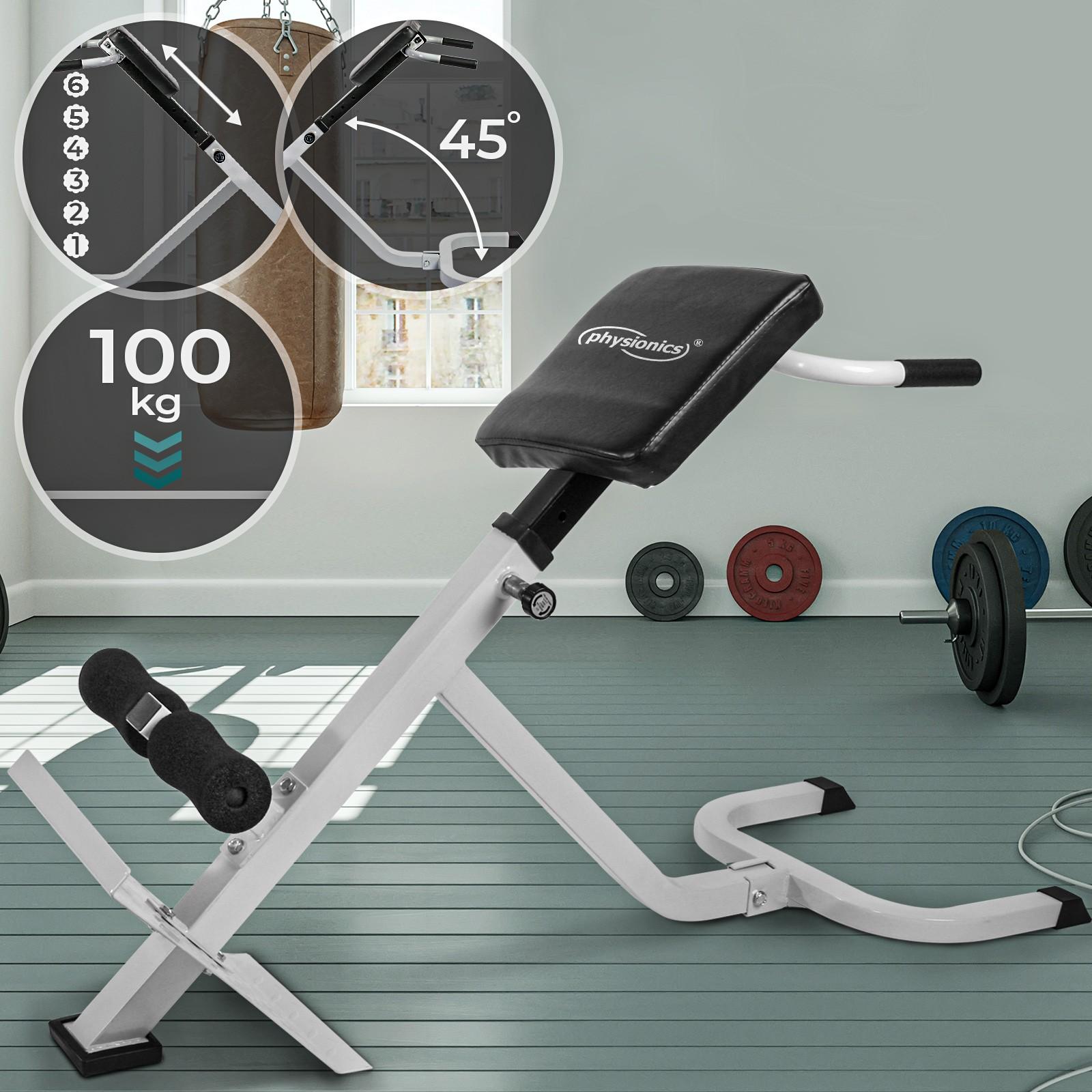 Physionics Appareil de Musculation du Dos et des Abdominaux Hyper Extension Machine de Dos et Les Fessiers Banc Sit Up Pliable /& R/églable Cales Rembourr/ées pour Les Jambes
