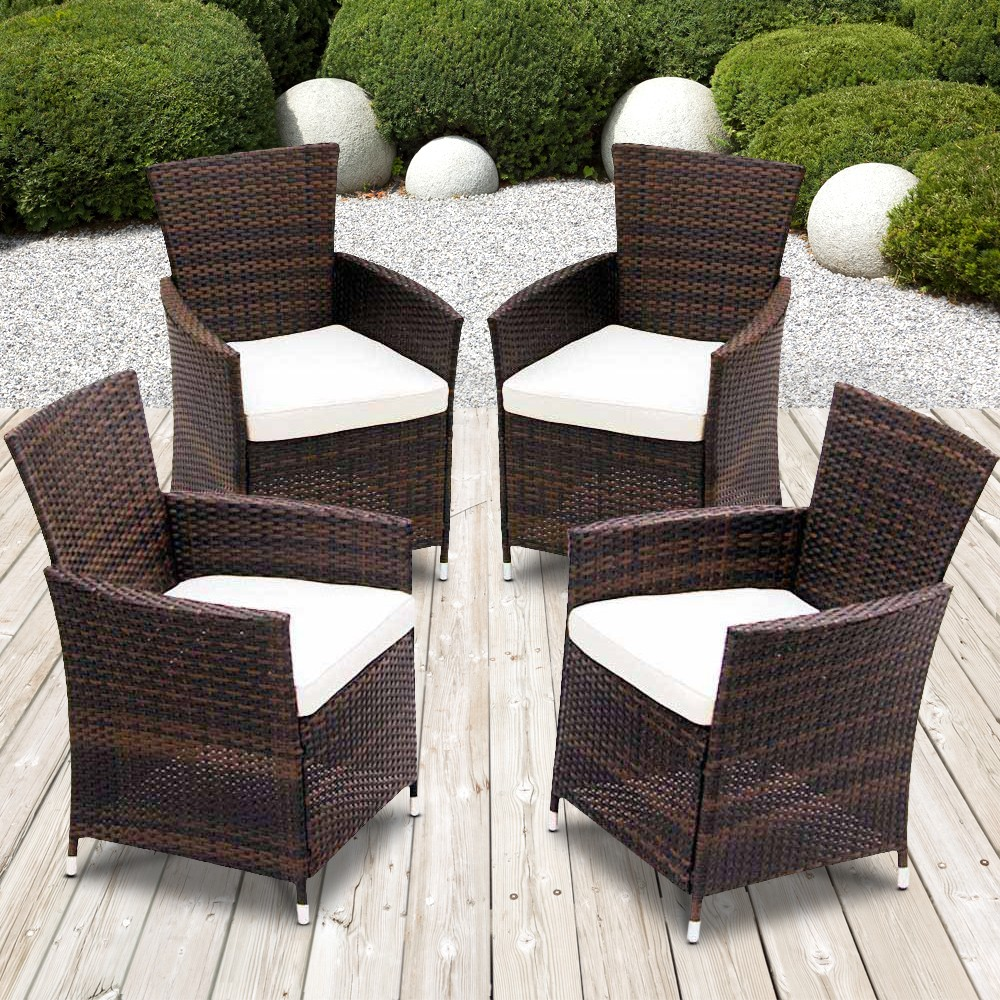 Mobili Per Giardino In Rattan.Dettagli Su Sedie Da Giardino Rattan Set Di 4 Mobili Per Esterno Poltrone Polyrattan Arredo