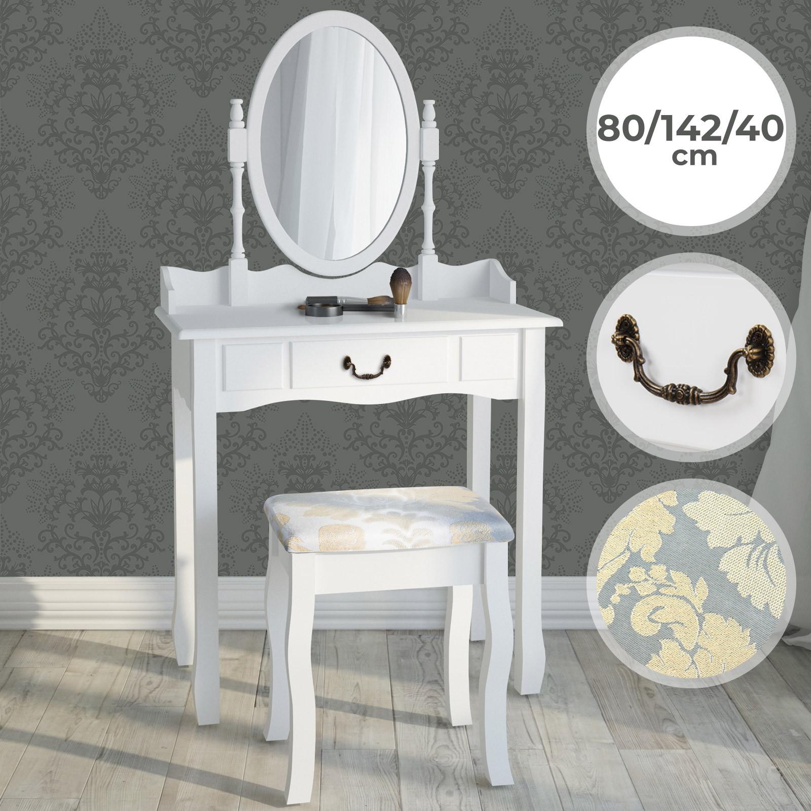 Schminktisch Kosmetiktisch Frisiertisch Frisierkommode weiß Make-up Tisch Holz
