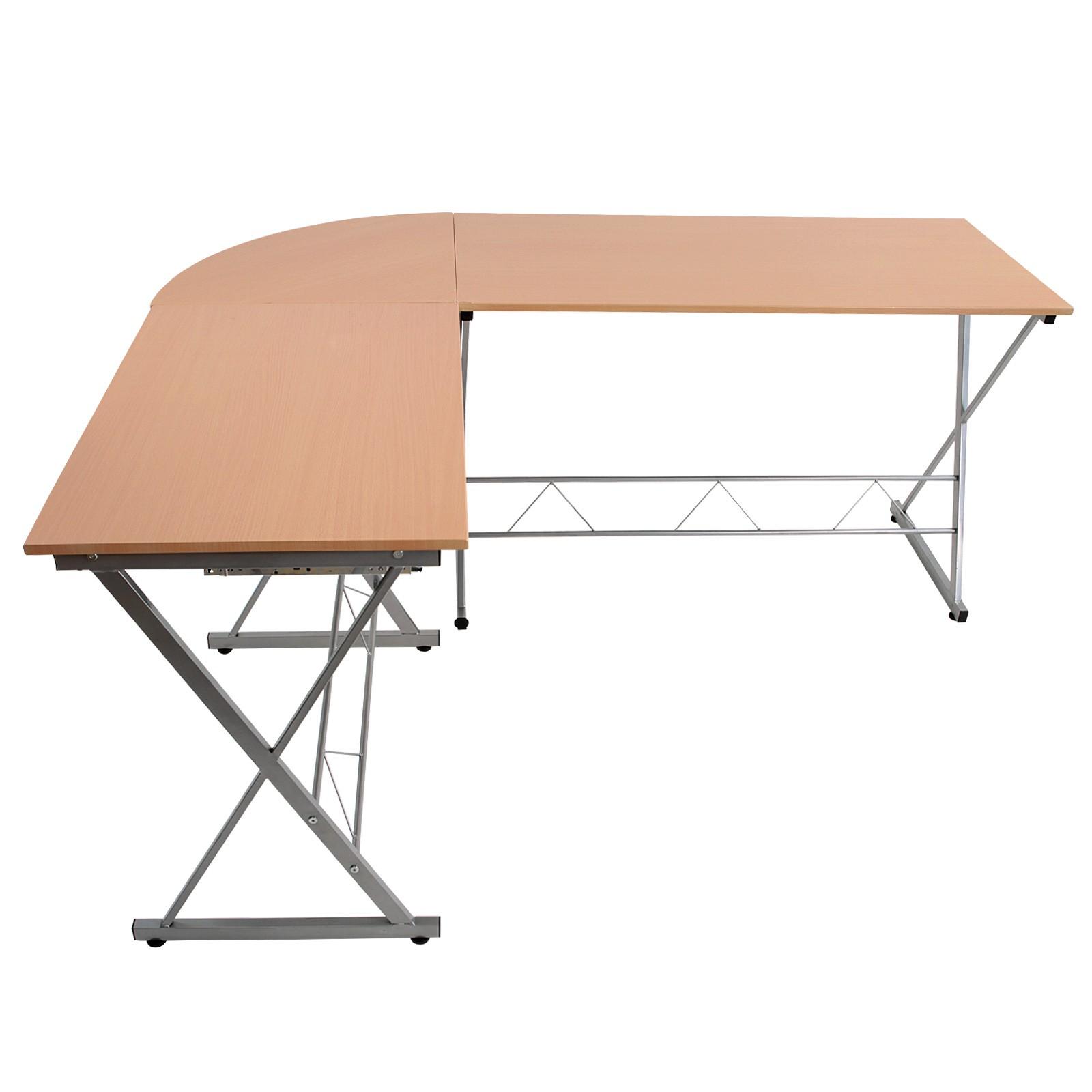Bureau D Angle Arrondi 170x136x74,5 cm table dordinateur support pour clavier