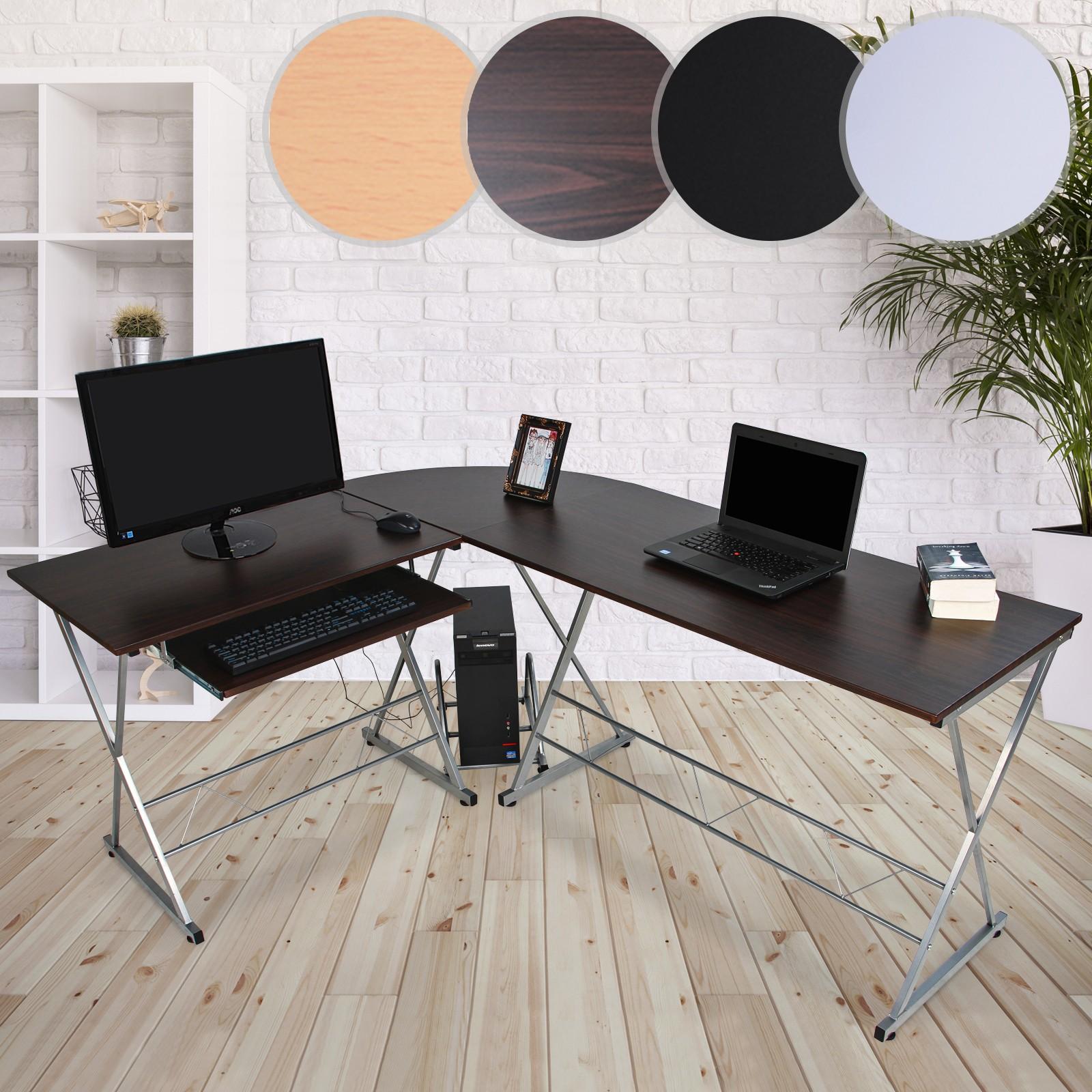 Bureau meuble informatique d 39 angle table d 39 ordinateur travail coin 170x136x74 cm ebay - Meuble d angle pour ordinateur ...