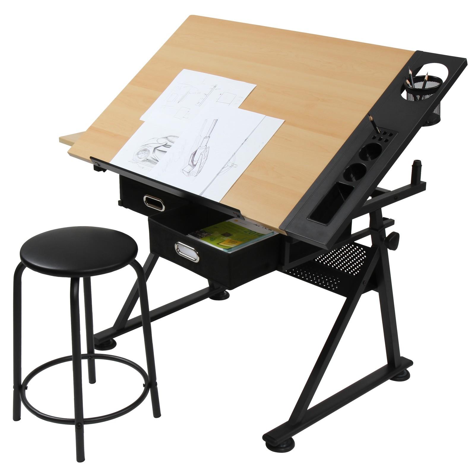 Tavolo da disegno scrivania inclinabile due cassetti e for Tavolo scrivania