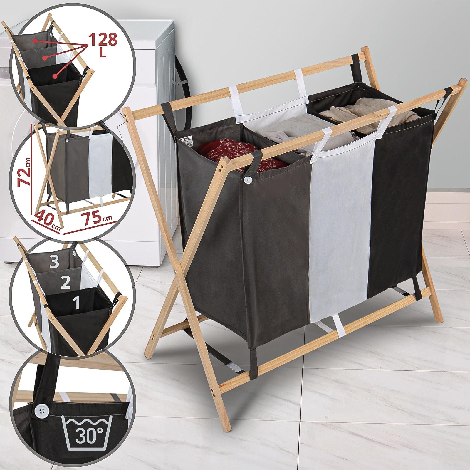 Cesto Per Panni Sporchi dettagli su portabiancheria cesto per biancheria cesta per bucato da  lavanderia 3 scomparti