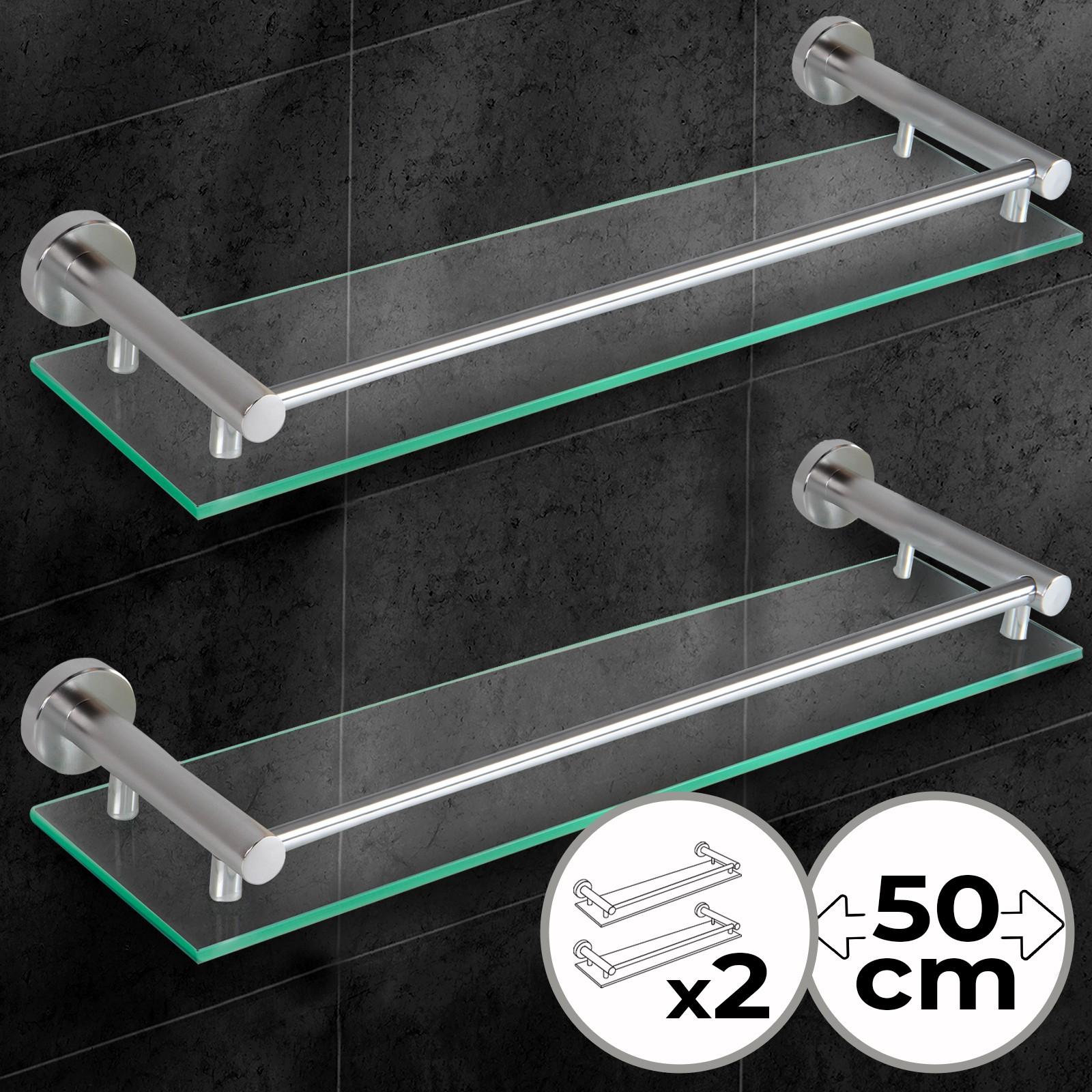 Mensole Di Alluminio.Dettagli Su 2 X Mensola Di Vetro Temperato Da Bagno Con Barra Di Alluminio Da Parete Muro