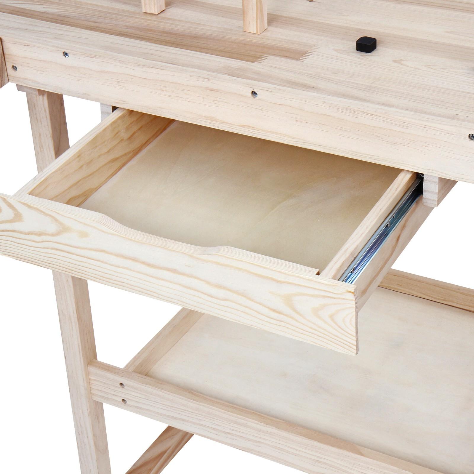 Werkbank Holz Werktisch Arbeitstisch Hobelbank Werkstatt Schraubstock Schublade