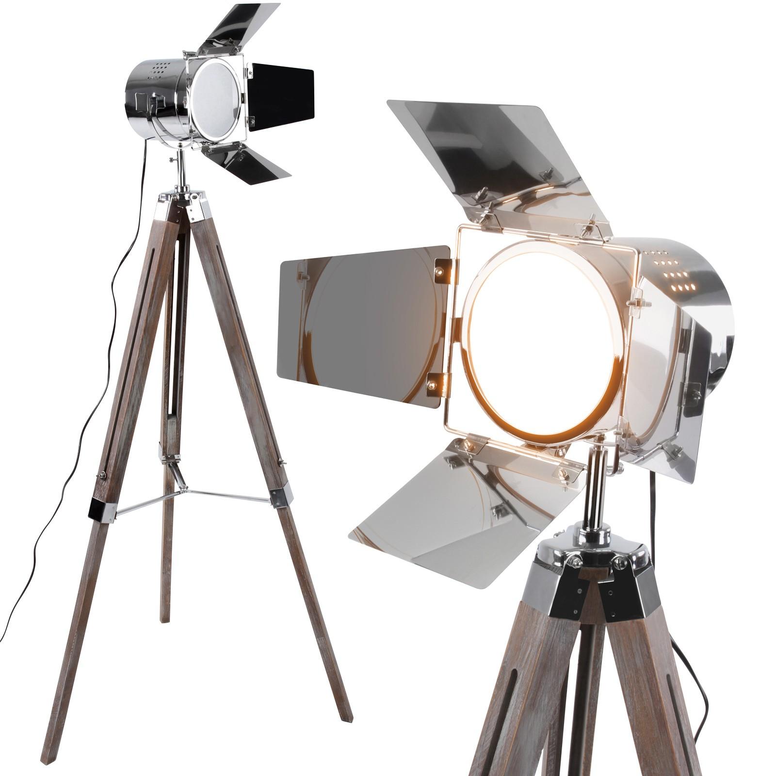 Stehlampe Vintage Stativ Tripod Stehleuchte Standleuchte Dreibein Studio 3 Fuss