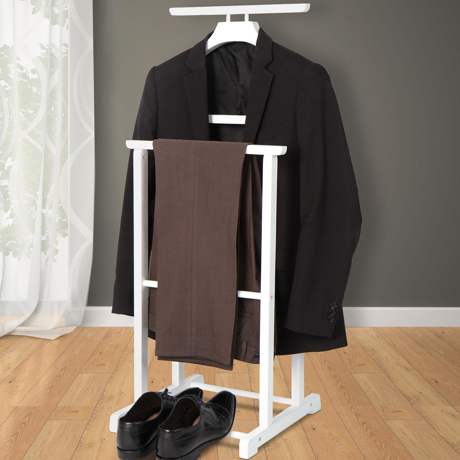 Détails sur Valet Chevalet de Chambre de Nuit Porte-Vêtement Rangement Bois  Blanc