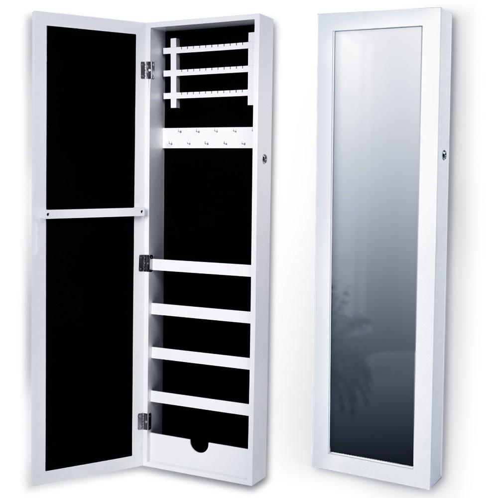armoire bijoux murale avec miroir blanc ebay. Black Bedroom Furniture Sets. Home Design Ideas